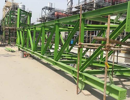 اتمام عملیات ساخت و نصب سازه فلزی پایپ رک پتروشیمی جم